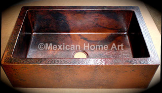 Copper Farmhouse Sink Single Well 30X20X10