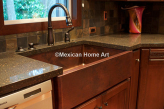 Copper Farmhouse Sink Single Well 33x22x10 corner view