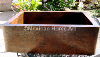 Copper Farmhouse Sink Single Well 33x22x9