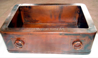 Copper Farmhouse Sink Single Well 35X22X10 with rings somber patina