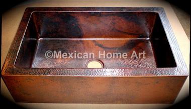 Copper Farmhouse Sink Single Well 35X22X10