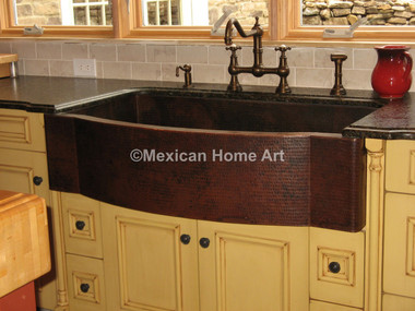 Copper Farmhouse Sink Single Well Jumbo 44x22x10 Installed