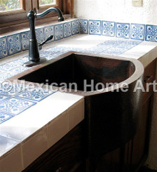 Copper Farmhouse Sink Single Well Rounded Front Kitchenette 20x18x9 somber patina installed
