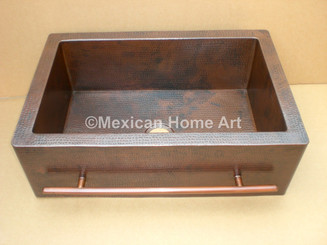 Copper Farmhouse Sink Single Well Towel Bar 33x22x10