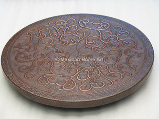 Copper Lazy Susan 22 inch with Fleur de Lis Motif Somber Patina front view