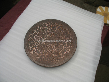 Copper Lazy Susan with Fleur de Lis Design