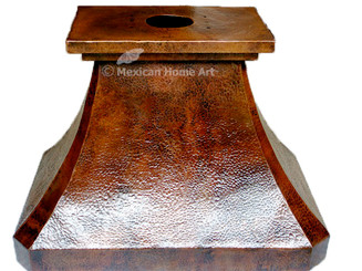 "60"" Island Mount Copper Range Hood whtie background"