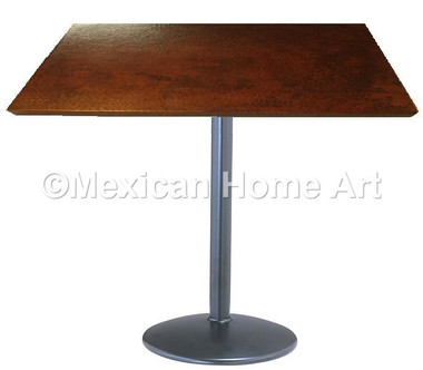"Square Copper Dining Table 24 and Larger ""Skinny Look"" Somber Patina"