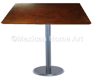 """Square Copper Dining Table 24"""" and Larger 'Cool Look' Somber Patina"""