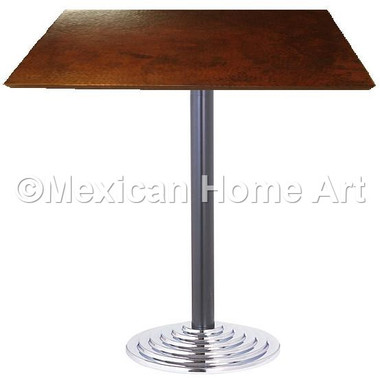 "Square Copper Dining Table 24""-36"" 'Pyramid' Somber Patina"