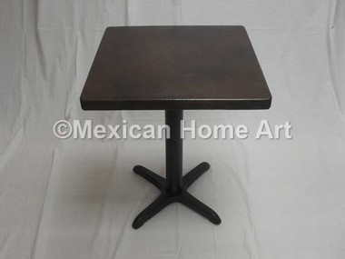 "Square Copper Dining Table 24"" and Larger 'Iron Cross Base' Somber Patina"