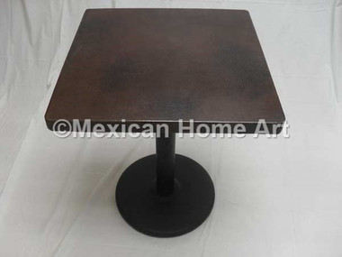 "Square Copper Dining Table 24""-42"" 'Flat Disc' Somber Patina"