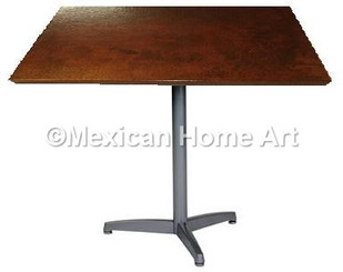 "Square Copper Dining Table 24""-36"" 'Aluminum Three Toe' Somber Patina"