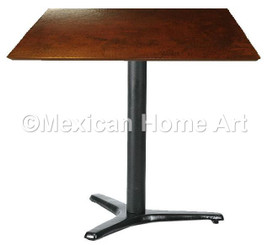 "Square Copper Dining Table 24""-36"" 'Steel Three Toe' Somber Patina"