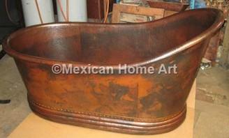 Copper Bathtub hammered copper single slipper bathtub