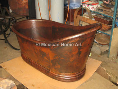 Copper Single Slipper Bathtub 65x33x35 Somber Patina