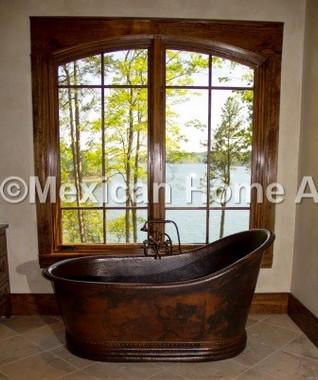 Copper Single Slipper Bathtub 65x33x35 Somber Patina installed in customer's bathroom