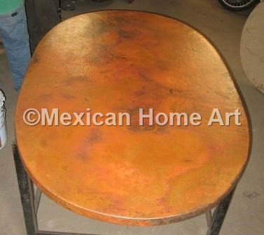 Copper Table Top Oval 42x32 Old Natural Patina top view