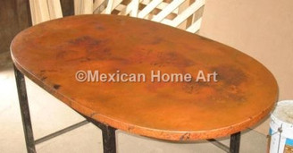 Copper Table Top Oval 42x32 Old Natural Patina