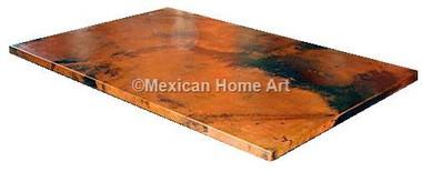 Copper Table Top Rectangular 60x40 Old Natural Patina corner view