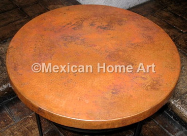 """Copper Table Top Round 24"""" Old Natural patina"""
