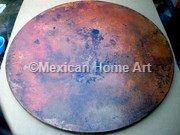 """Copper Table Top Round 54"""" Somber patina natural light"""