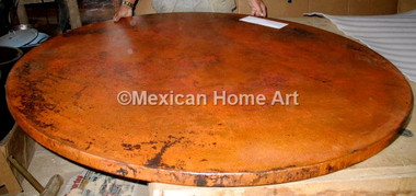"""Copper Table Top Round 60"""" Old Natural Patina"""