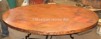 "Copper Table Top Round 72"" with rivets"
