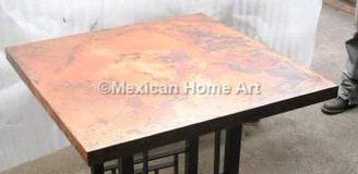 Copper Table Top Square 30x30 Old Natural Patina with 90 degree corners