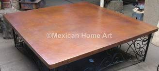 Copper Table Top Square 54X54 Somber Patina Slightly Rounded Corners