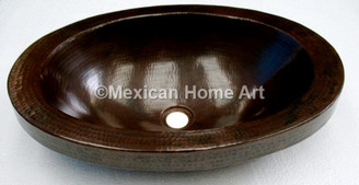 "Copper Vanity Vessel Sink Oval 1.5"" Apron 21x14x5.5 somber patina front view"