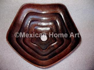 Copper Vanity Vessel Sink Pentagon Design 14x4 somber patina front view