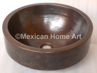 "Copper Vanity Vessel Sink Round 6"" Apron 17x6 somber patina front view"