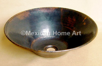 "Copper Vanity Vessel Sink Round ""Cazo"" 16.25X5 somber patina front view"