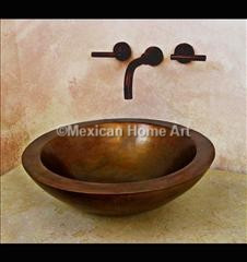 Copper Vanity Vessel Sink Round Double Wall 17x6 somber patina installed