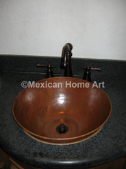 Copper Vanity Vessel Sink Round 16X6 somber patina front view installed