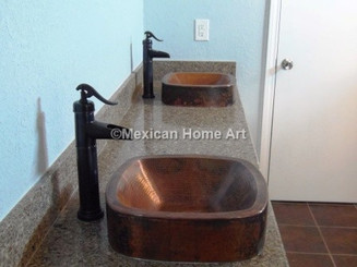 "2 Copper Vanity Vessel Sink Square 3.5"" Apron 17x17x5 somber patina side view installed"