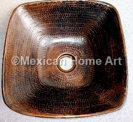 Copper Vanity Vessel Sink Square 15X15X4 top view antique patina