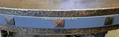 Pyramid Copper Rivets on belt on sidee of antique patina copper table top