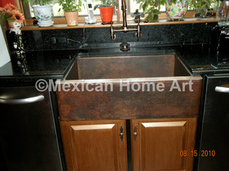 Copper kitchen single well sink for JC Somber patina undermount installation front view