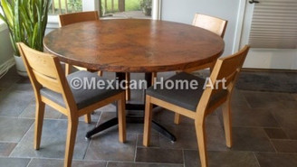 Round Copper Table Old Natural Patina in customer's home with Altira base