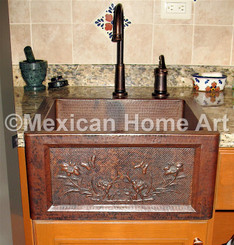 Custom apron front farmhouse Bar/Prep with motif for DS front view somber patina installed