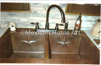 Custom Copper Double Well Kitchen Sink  with star motifs for CS installed somber patina