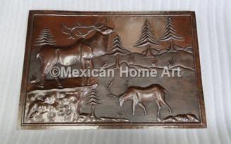 Custom Copper Panel with Custom Elk Mountain Scene motif for JS Somber Patina
