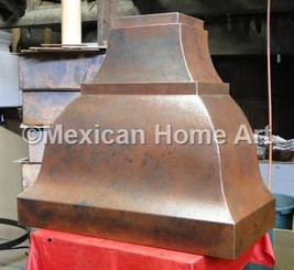 Custom Copper Range Hood for EN somber patina