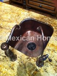 Custom Copper Par/Prep Sink for JL installed undermount 3.5 inch drain hole somber patina