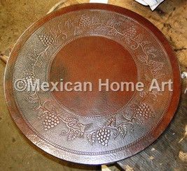 Custom Copper Table Top with Grapes and Humming Bird Antique Patina Motif on Somber Patina background