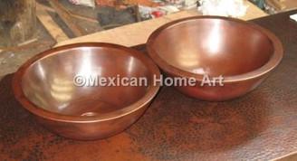 2 Custom Copper Vessel Sinks for MD Somber Patina