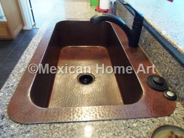 Custom Copper Single Well Drop In Sink with wide rims Somber Patina Installed 3.5 inch drain