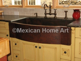 """Custom Sink for KB 'D"""" Shaped Rounded Front Single Well Front view Somber Patina"""
